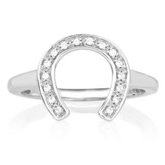ASPCA Sterling Silver 1/10ct TDW Diamond Horseshoe Ring (I-J, I2-I3)