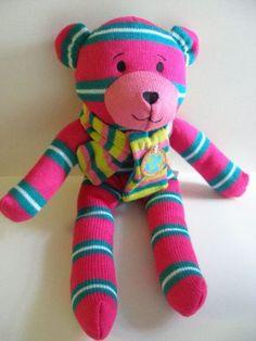 Pink Sock Bear Style Stuffed Animal Earth Friendly Fiber Dan Dee Toy