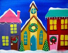 Christmas village from Uptown Art (the pink roof and door are too much).