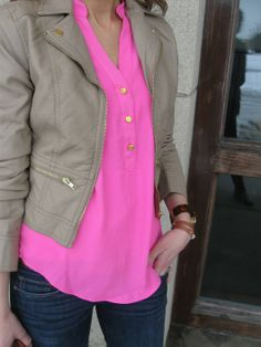 Love the neon & nude color combo