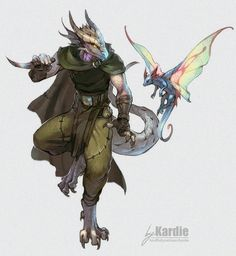 Dragonborn Ranger with lil fairy dragon - by Kardie Fantasy Character Design, Character Creation, Character Drawing, Character Design Inspiration, Character Concept, Dungeons And Dragons Characters, D&d Dungeons And Dragons, Dnd Characters, Fantasy Characters