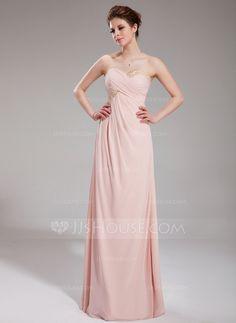 Empire Sweetheart Floor-Length Chiffon Holiday Dress With Ruffle Beading (020025948)
