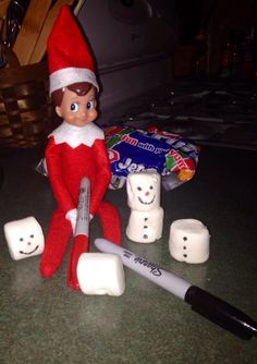 Day 5: Finnegan loves snowmen and so he thought it would be fun to build snowmen out of marshmallows .