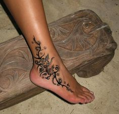 Flower Ankle Tattoo Designs