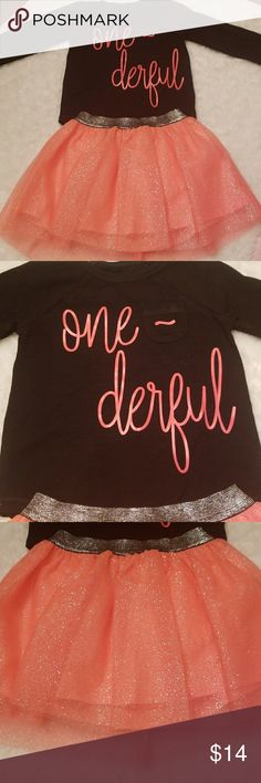 """Precious hot coral """"one-derful"""" outfit!! NWOT This is NWOT! Black  Long sleeved pocket tee with the words """"one-derful"""" in coral that matches this float coral skirt. Built in bloomers as shown in last photo. Cat & Jack Matching Sets"""