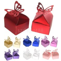 50PCS Butterfly Sweet Candy Cake Gift Boxes Wedding Engagement Party Favor
