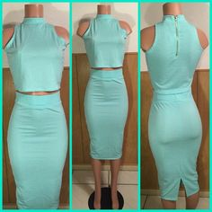 Mint Blue Two Piece This two piece is everything! Mint colored sleeveless crop top with matching mid length skirt. The crop top has a good zipper in the back and up to the collar. The skirt has a slight slight at the bottom to add the stylish flair. The set is BRAND NEW and still in its packaging. Other