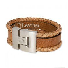 B&L Leather   Man   Armband   Combi Bruin *** Stoere mannenarmbanden in een mooie combi van diverse leersoorten met prachtige kleuren. De armband van B&L Leather heeft een breedte van 3 cm en sluit met een magneetsluiting. Deze armband is in de combinatie bruin.