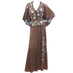 A Rare Couture Early 1970s Hand Painted Cape Gown  by Douglas Darnell