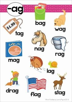 Word Families AG pages). No Prep worksheets, centers, games and activities. A page from the unit: poster with pictures Learning Phonics, Phonics Books, Phonics Reading, Kindergarten Reading, Teaching Reading, Reading Comprehension, English Phonics, English Vocabulary, Teaching English
