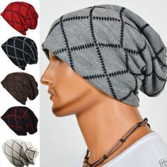 b1b5cd63851 Korean Male Double Layer Elastic Outdoor Cap Grid Twill Square Knitted  Slouch Beanie Hat is hot sale on Newchic.