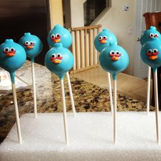 Blue angry bird cake pops!