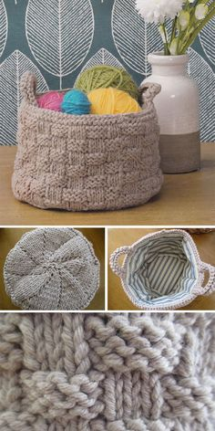 Basket Knitting Patterns Knitting Pattern for Basket Stitch Basket - Container knit appropriately with easy basket stitch. Finished measurements are 7 diameter x 5 deep. Designed by Sian Brown Knitwear Design. Knitting Designs, Knitting Stitches, Free Knitting, Knitting Projects, Knitting Patterns, Double Knitting, Crochet Crafts, Yarn Crafts, Diy Crochet