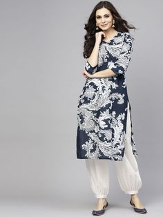 Buy AKS Women Beige & Grey Printed Kurta With Salwar - - Apparel for Women Pakistani Fashion Casual, Pakistani Dresses Casual, Pakistani Dress Design, Indian Dresses, Indian Fashion, Fashion Edgy, Womens Fashion, Fashion Trends, Salwar Designs