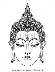 Head of Buddha. Vector illustration isolated on white. Beautifully detailed face, serene. Vintage decorative elements. Indian, Buddhism, Spiritual motifs. Tattoo, yoga, spirituality.