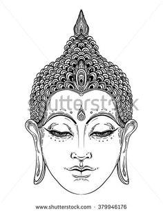 Head of Buddha. Vector illustration isolated on white. Beautifully detailed face, serene. Vintage decorative elements. Indian, Buddhism, Spiritual motifs. Tattoo, yoga, spirituality.