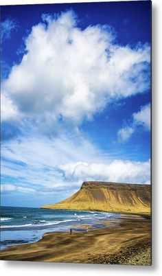 Iceland Snaefellsnes coast, Metal Print for sale. Beach and ocean, white clouds and blue sky: fascinating Iceland. Art for your Home Decor and Interior Design by Matthias Hauser.