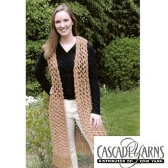 Magnum Long Vest Knitted Ladies' Vest Pattern by Cascade Yarns