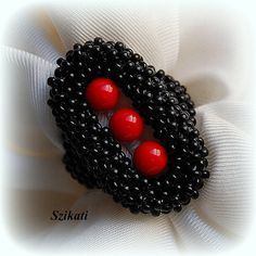 Red/Black Beaded Cocktail Ring Statement Beadwork Ring by Szikati