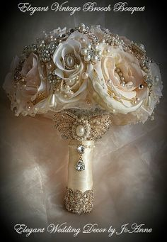 Rose Gold Bridal Brooch Bouquet Ivory Pink and Gold Bridal