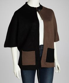 Take a look at this Taupe & Black Color Block Cardigan - Plus by Katie Todd on #zulily today! $24 !!