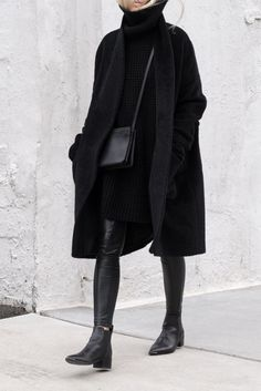 All black everything //Eileen Fisher Coat | Hope Grand Sweater | Aritzia legging | Acne Jensen boots| Celine crossbag