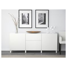 BESTÅ Storage combination with drawers - walnut effect light gray/Selsviken high-gloss/white, drawer runner, soft-closing - IKEA Soft Closing Hinges, Ikea Family, Drawer Fronts, Interior Accessories, Solid Oak, Storage Spaces, Ikea Storage, Extra Storage, Home Furniture