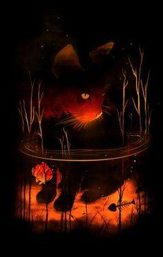 Woww... prints on metal Animals cat kitty kitten cats fish dark naturebones claws animals wild water silhouette