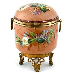 Antique French Opaline Enameled Art Glass Hinged Jewelry Trinket Box Ormolu Old | eBay