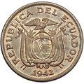 1942 Educador South American 20 Centavos Old with Coat of Arms Eagle i55203