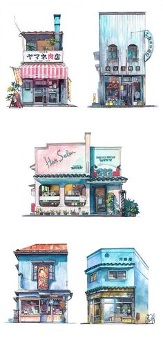 Colorful Watercolor Paintings Immortalize Tokyo's Historical Storefronts Polish animator Mateusz Urbanowicz captures Tokyo's storefronts in beautiful watercolor paintings. Japanese Watercolor, Watercolor Sketch, Watercolor Illustration, Watercolor Paintings, Watercolor Artists, Oil Paintings, Painting Art, Watercolor Japan, Watercolor Architecture