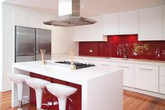 [ Kitchen Renovation Ideas With Red Backsplash Modern White Cabinet For Singapore ] - Best Free Home Design Idea & Inspiration Red And White Kitchen, Red Kitchen, Kitchen Tiles, Kitchen Layout, Kitchen Flooring, Kitchen Interior, Kitchen Decor, Kitchen Designs Photos, Modern Kitchen Design