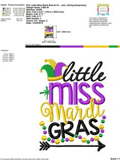 Embroidery design 5x7 6x10 Little Miss Mardi by SoCuteAppliques