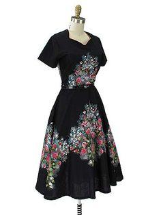 37e8c5b2c7d3a 1950 s NOS Black Border Floral Print Swing Dress  VintageDresses   50sDresses  SwingDresses 50s Dresses