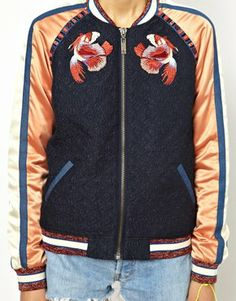 Maison Scotch Baseball jacket - Not entirely my colors, I'm not really sure what those embroidered things are (fish? birds? bird-fish?), but I wouldn't kick it out of bed if I woke up next to it one day. (Size 2.)