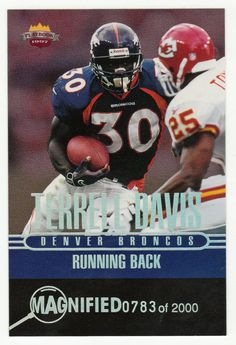 Terrell Davis # RB 2 - 1997 Score Board Playbook By The Numbers Football - Magnified Silver