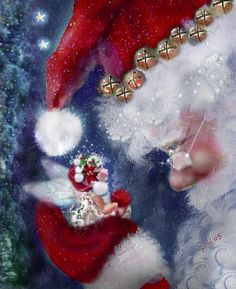 fete noel vintage gifs images - Page 6 Christmas Fairy, Christmas Scenes, Father Christmas, Christmas Love, Christmas Pictures, Winter Christmas, All Things Christmas, Christmas Crafts, Christmas Decorations