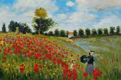 Poppy Field in Argenteuil, Claude Monet – In this colorful oil painting, originally created in 1873, Claude Monet painted his wife and son strolling together among the poppies.