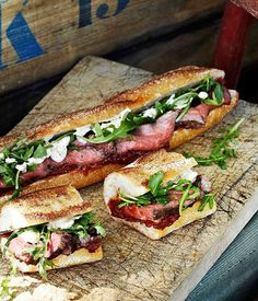 rare roast beef baguettes with roast tomato and currant chutney (Australian Gourmet Traveler) sandwiches-burgers Roast Beef Baguette, Rare Roast Beef, Baguette Recipe, Baguette Sandwich, Roast Beef Wrap, Sandwich Menu, Steak Sandwich Recipes, Roast Brisket, Sandwich Fillings