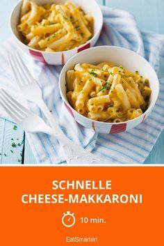 Schnelle Cheese-Makkaroni - smarter - Zeit: 10 Min. | eatsmarter.de Garlic Chicken Pasta, Garlic Chicken Recipes, Spinach Recipes, Healthy Recipes, Queso, Easy Dinner Recipes, Macaroni And Cheese, Food And Drink, Meals
