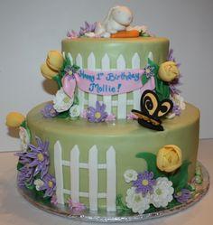 Bunny Garden 1st Birthday Cake 1st Birthday Themes, Birthday Cake, Cake Cookies, Cupcakes, Bunny Party, Garden Cakes, Decorated Cakes, Cakes And More, Cake Art