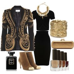 """Black and gold elegant"" by dfanny on Polyvore"