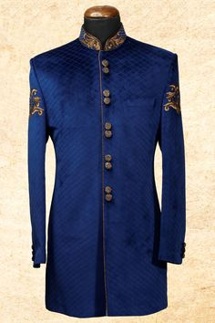Buy Royal blue stately velvet sherwani with bandhgala Online Sherwani Groom, Mens Sherwani, Wedding Sherwani, Indian Men Fashion, African Fashion, Mens Fashion, Royal Fashion, Indian Groom Wear, Indian Wear