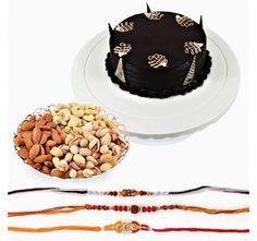 Chocolate Cake With Rakhi And Dryfruits
