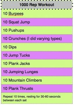 1000 rep workout....