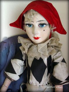 Mother Xmas Boudoir Doll Salon - Dolls For Sale Boudoir, Victorian Dolls, Vintage Dolls, Cute Clown, Pierrot, Send In The Clowns, Half Dolls, Dolls For Sale, Ooak Dolls