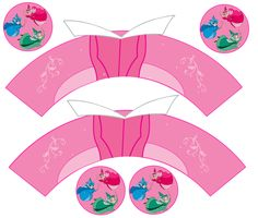 Bela Adormecida: Wrappers e chapéus de coco Cupcakes para livre impressão.