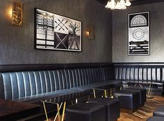 Leather banquettes line the walls of San Francisco's Brass Tacks bar.  Interior design by Sayre Ziskin.