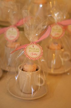Tea Party Favors #teaparty #favors super cute.... LOVE this idea for Lucy's 5th. Npt sure about the boys, perhaps a mug?! Lucy could decorate or the kids could then I wrap and fill with lollies for them to take home. That is the craft activity = party favour :-)