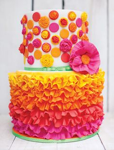 Bright and Cheerful Mexican Fiesta Birthday Party - Pink Birthday Cake Ideen Pretty Cakes, Cute Cakes, Beautiful Cakes, Amazing Cakes, Mexican Fiesta Cake, Mexican Fiesta Birthday Party, Mexican Themed Cakes, Mexican Party, Cake Wrecks